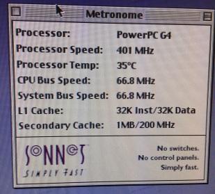 Metronome showing processor details.